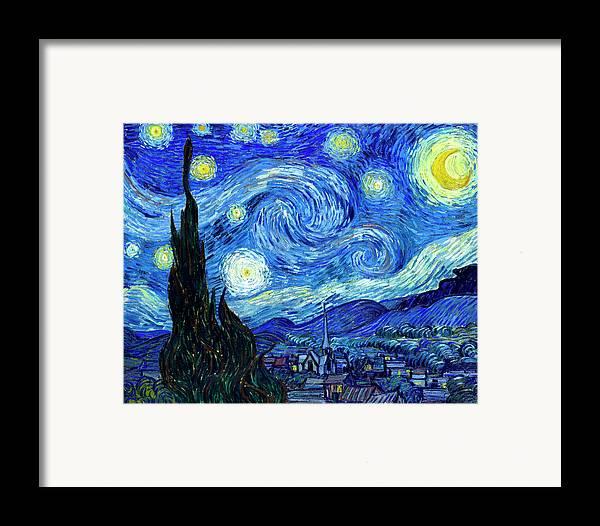 Van Gogh Framed Print featuring the painting Van Gogh Starry Night by Vincent Van Gogh