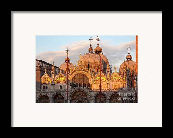 Venice Framed Print featuring the photograph Venice Church Of St. Marks At Sunset by Heiko Koehrer-Wagner