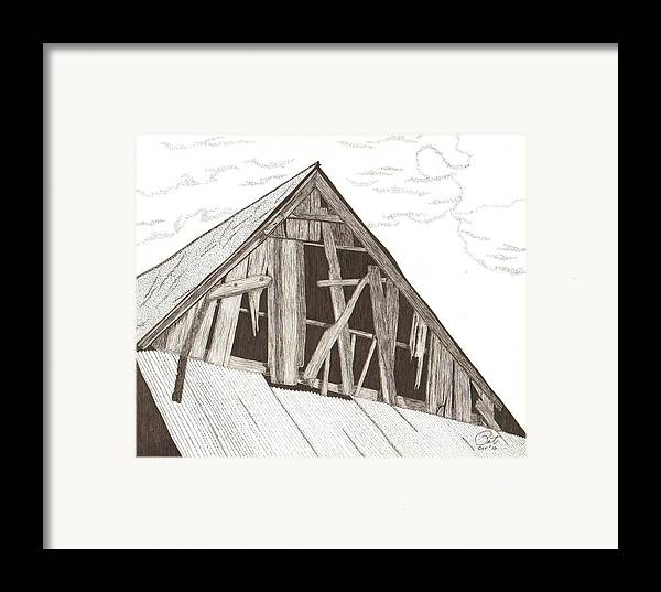 Pen And Ink Framed Print featuring the drawing Ventilated by Pat Price