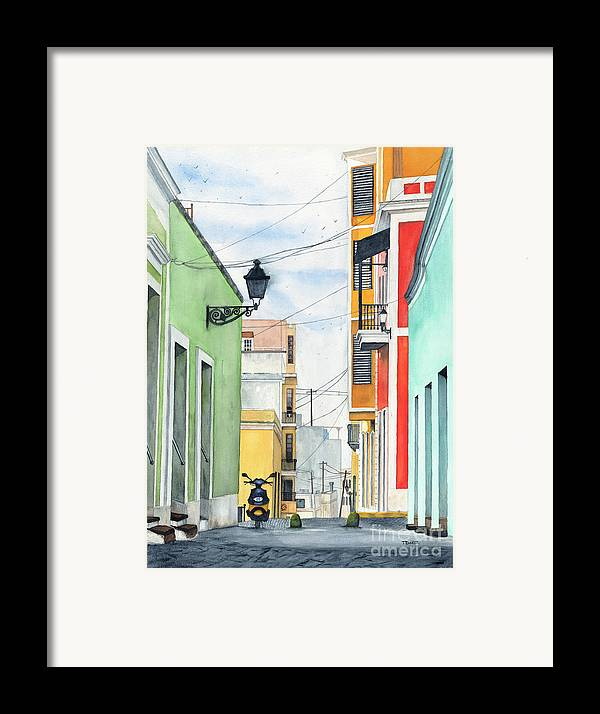 San Juan Framed Print featuring the painting Viejo San Juan by Tom Dorsz