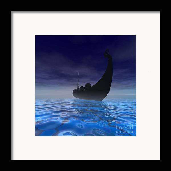 Ancient Framed Print featuring the painting Viking Ship by Corey Ford