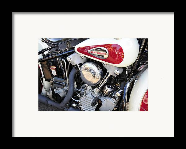 Vintage Harley Davidson Motorcycle Framed Print featuring the photograph Vintage Harley V Twin by David Lee Thompson