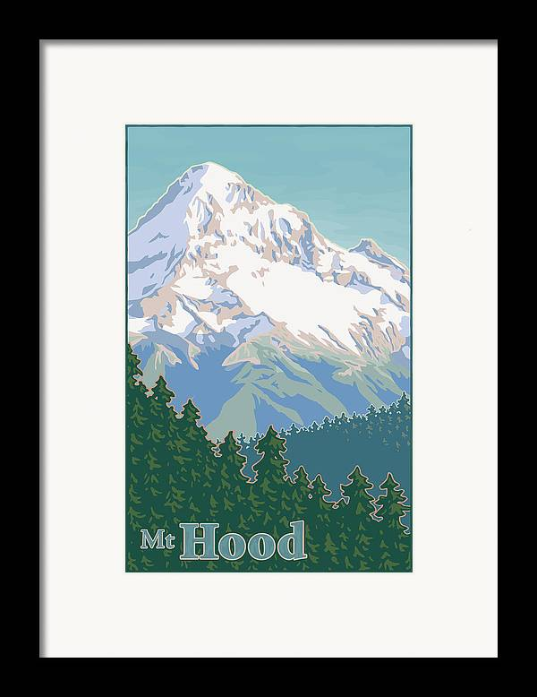 Mount Framed Print featuring the digital art Vintage Mount Hood Travel Poster by Mitch Frey