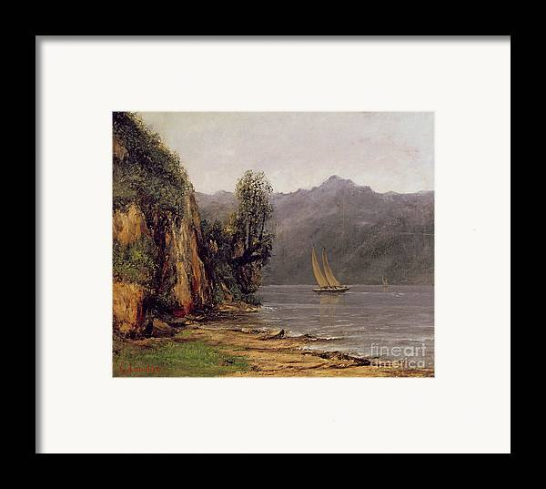 Vue Framed Print featuring the painting Vue Du Lac Leman by Gustave Courbet