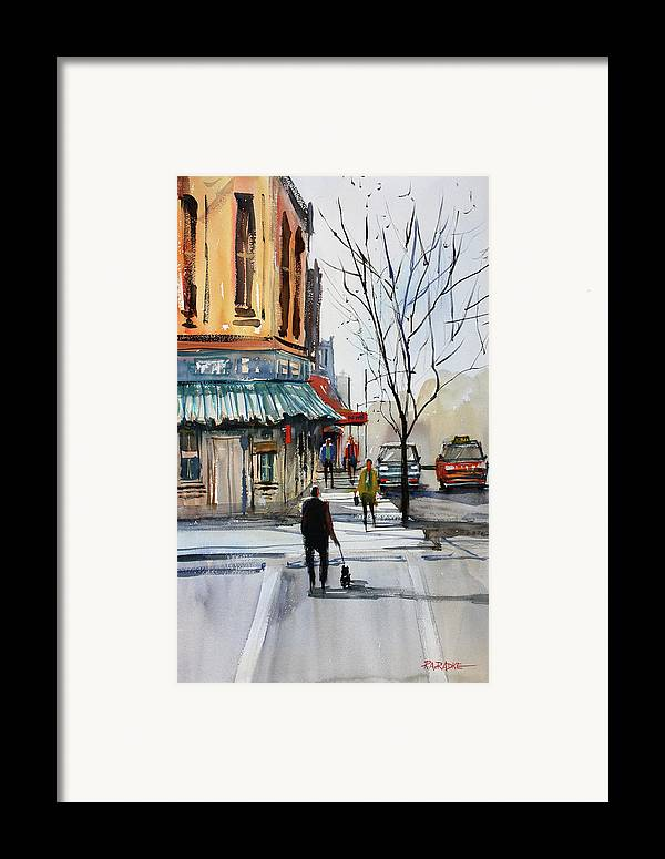 Paintings Framed Print featuring the painting Walking The Dog by Ryan Radke