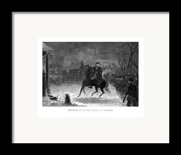 George Washington Framed Print featuring the painting Washington At The Battle Of Trenton by War Is Hell Store