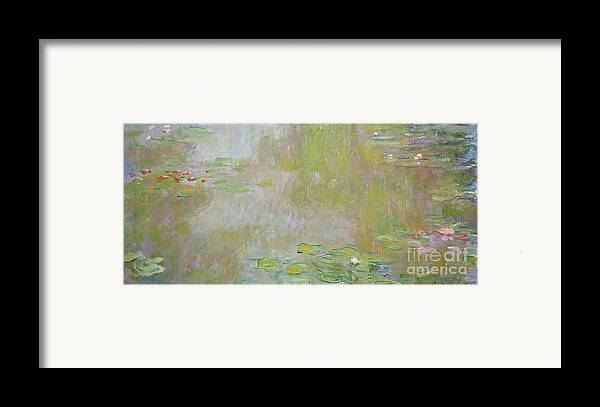 Waterlilies At Giverny Framed Print featuring the painting Waterlilies At Giverny by Claude Monet