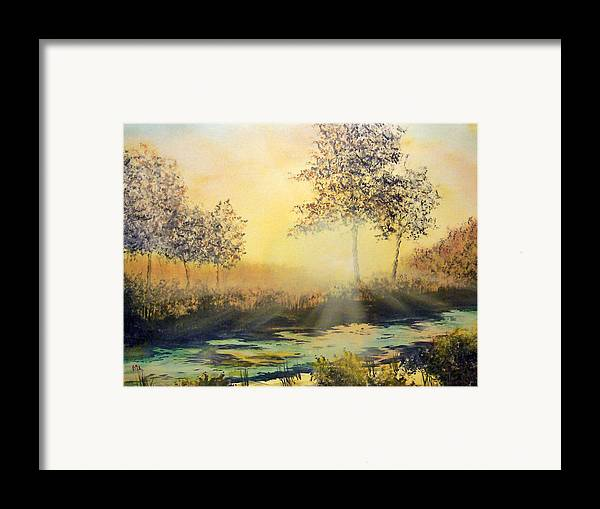 Sunset Framed Print featuring the painting When The Sun Goes Down by Kenneth McGarity