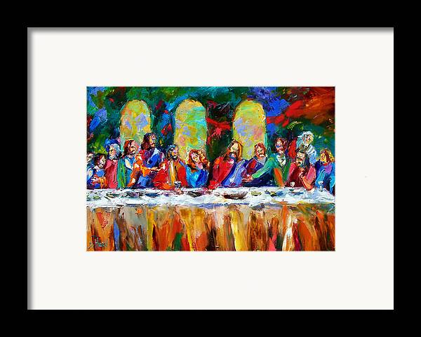 Last Supper Framed Print featuring the painting Who Among Us by Debra Hurd