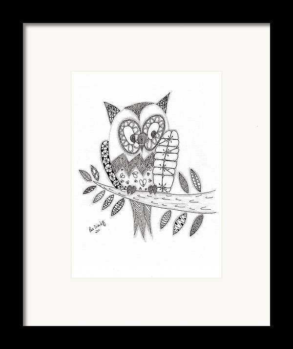 Owl Framed Print featuring the drawing Who Says The Owl by Paula Dickerhoff