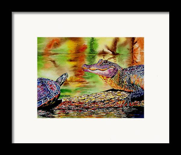 Alligator Framed Print featuring the painting Who's For Lunch by Maria Barry