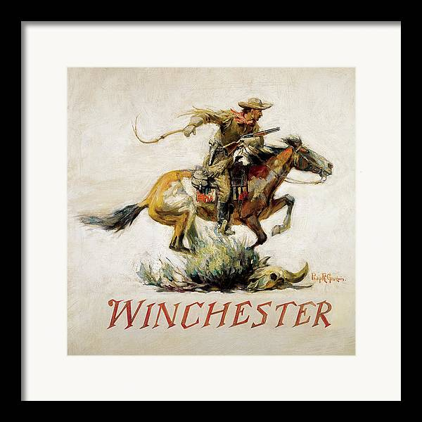 Old West Framed Print featuring the painting Winchester Horse And Rider by Phillip R Goodwin