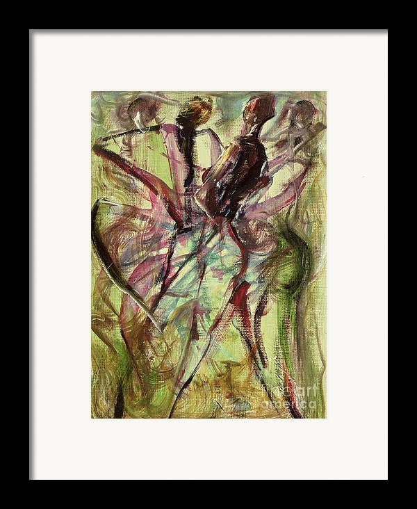 Female Framed Print featuring the painting Windy Day by Ikahl Beckford