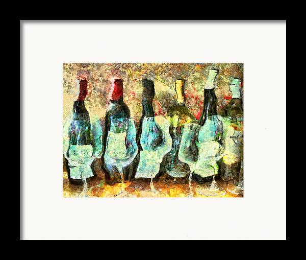 Wine Framed Print featuring the mixed media Wine On The Town by Marilyn Sholin