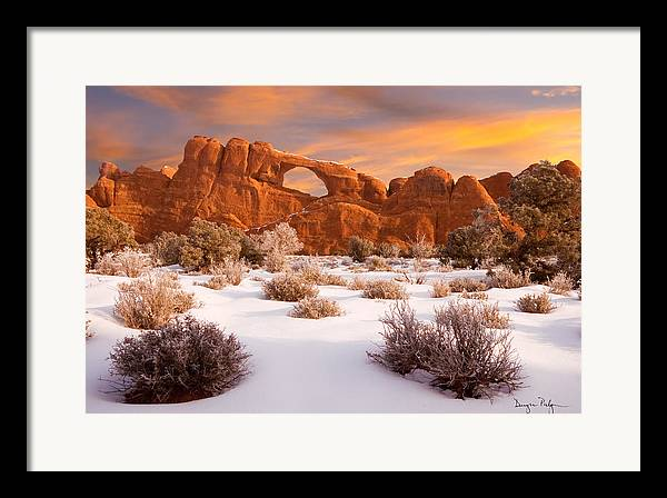 Arches National Park Framed Print featuring the photograph Winter Dawn At Arches National Park by Utah Images