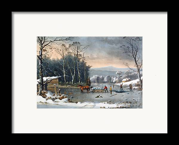 Winter In The Country Framed Print featuring the painting Winter In The Country by Currier and Ives