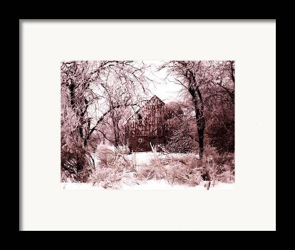 Barn Framed Print featuring the photograph Winter Wonderland Pink by Julie Hamilton
