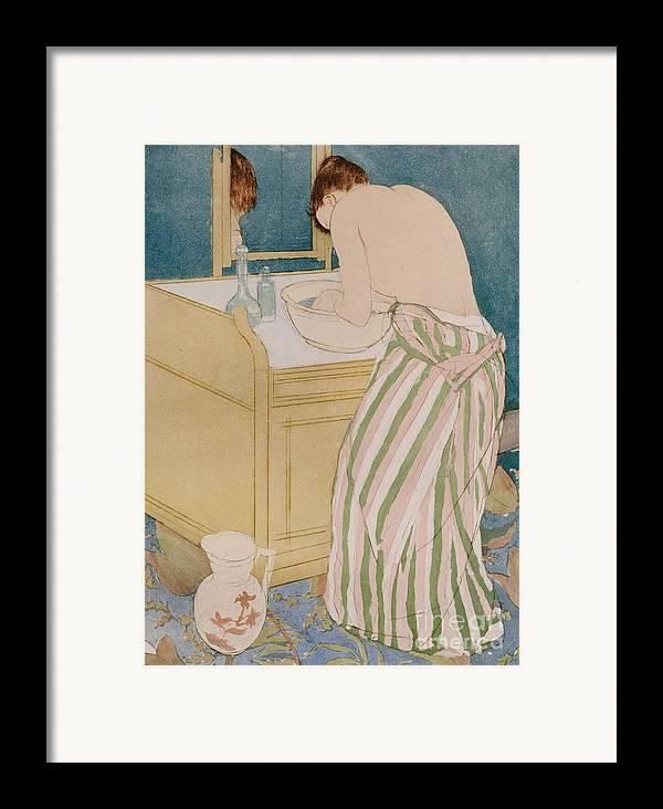 Woman Bathing Framed Print featuring the painting Woman Bathing by Mary Stevenson Cassatt