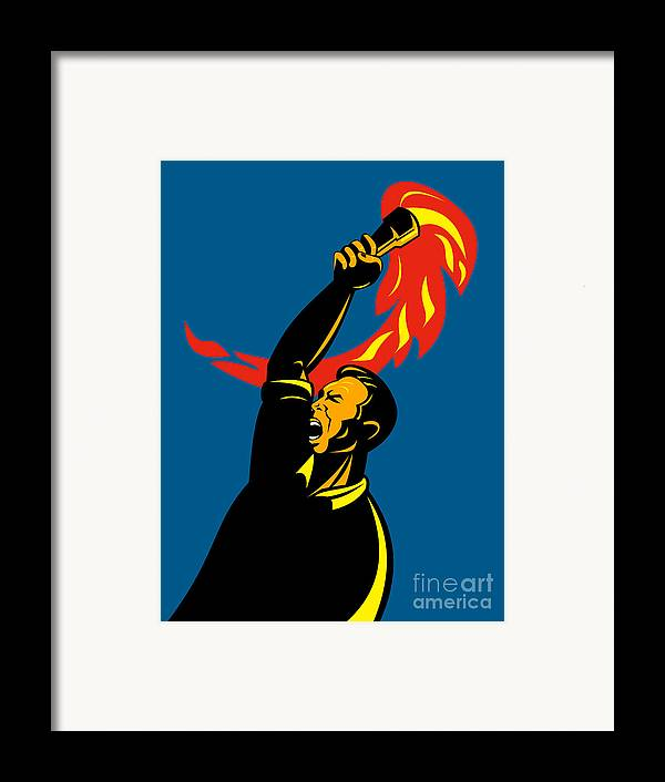 Illustration Framed Print featuring the digital art Worker With Torch by Aloysius Patrimonio