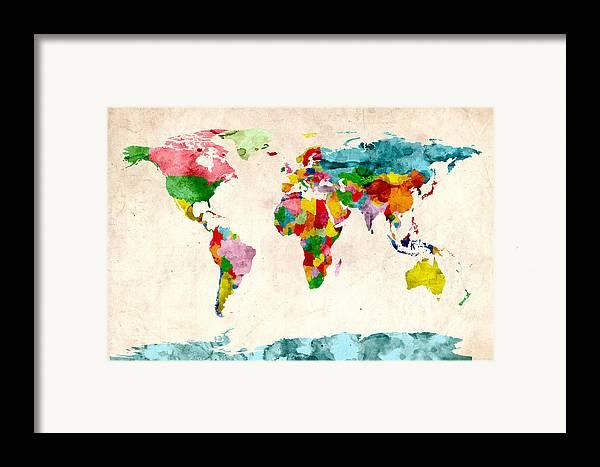 World Map Framed Print featuring the digital art World Map Watercolors by Michael Tompsett