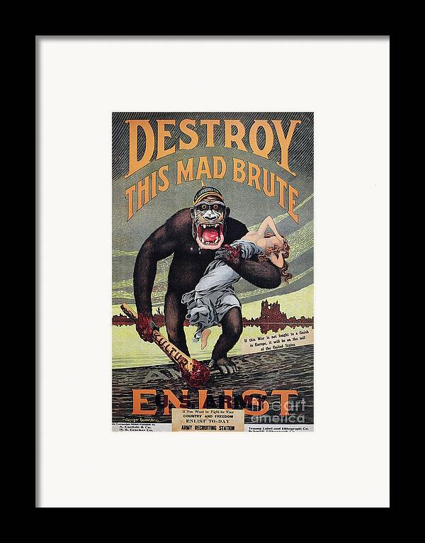 1917 Framed Print featuring the photograph World War I: Recruitment by Granger