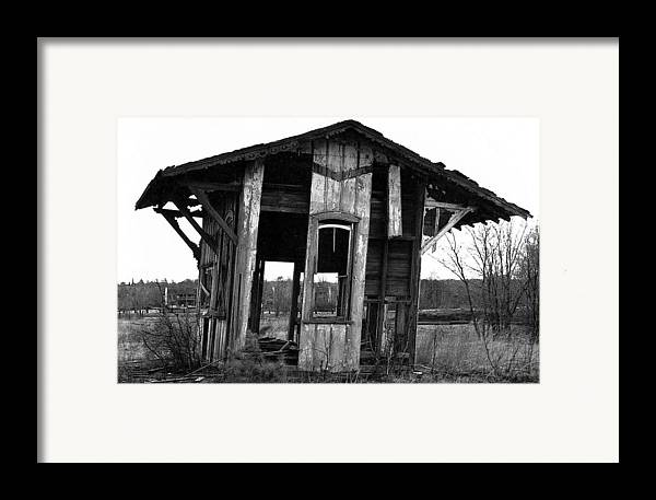 Black And White Framed Print featuring the pyrography Ye Ol' Train Station by Sandy Poore