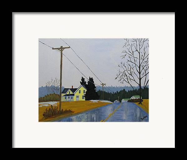 Maine Framed Print featuring the painting Yellow House In March by Laurie Breton