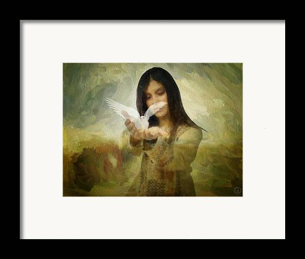 Woman Framed Print featuring the digital art You Bird Of Freedom And Peace by Gun Legler