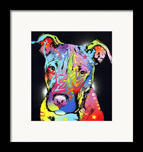 Dog Framed Print featuring the painting Young Bull Pitbull by Dean Russo