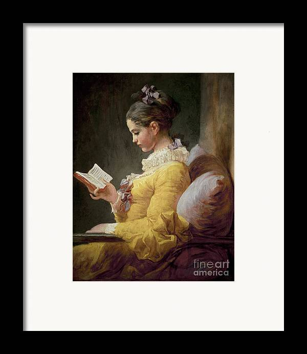 Young Framed Print featuring the painting Young Girl Reading by JeanHonore Fragonard