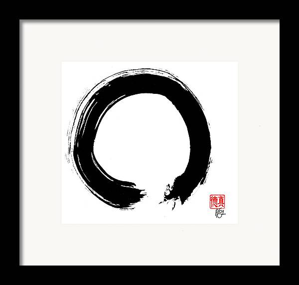 Enso Framed Print featuring the painting Zen Circle Five by Peter Cutler