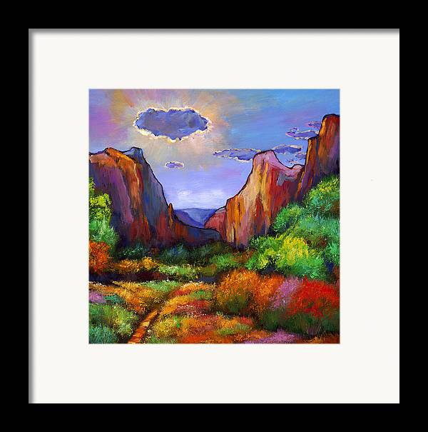 Southwest Landscapes Framed Print featuring the painting Zion Dreams by Johnathan Harris