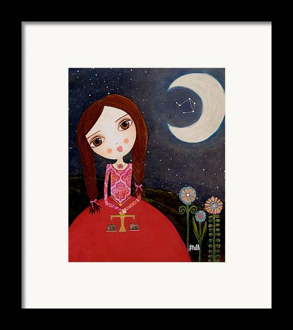 Zodiac Framed Print featuring the painting Zodiac Libra by Laura Bell