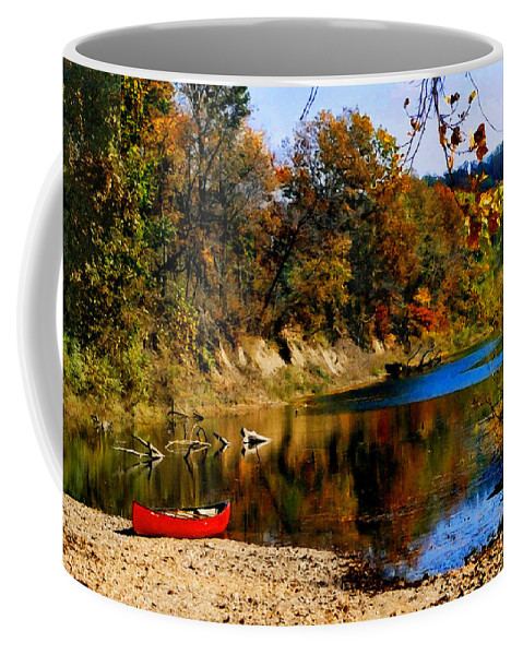 Autumn Coffee Mug featuring the photograph Canoe On The Gasconade River by Steve Karol