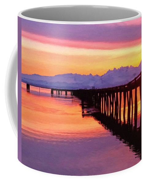 Sunset Coffee Mug featuring the painting Dock At Cold Bay by Michael Pickett