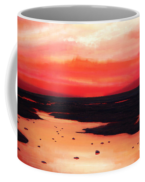 Sunset Coffee Mug featuring the painting Earth Swamp by Paul Meijering