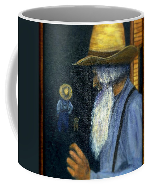 Men Coffee Mug featuring the painting Eli Remembers by Gail Kirtz