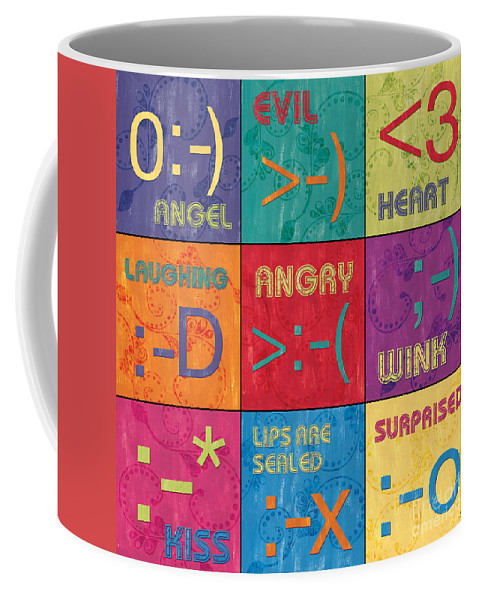 Emoticons Coffee Mug featuring the painting Emoticons Patch by Debbie DeWitt