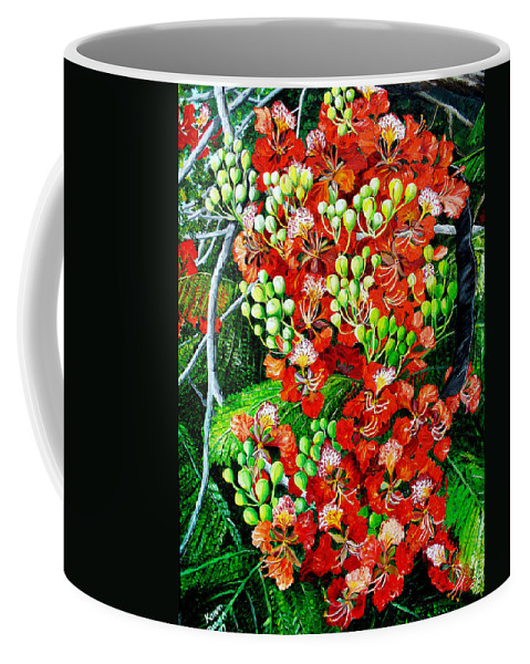 Royal Poincianna Painting Flamboyant Painting Tree Painting Botanical Tree Painting Flower Painting Floral Painting Bloom Flower Red Tree Tropical Paintinggreeting Card Painting Coffee Mug featuring the painting Flamboyant In Bloom by Karin Dawn Kelshall- Best