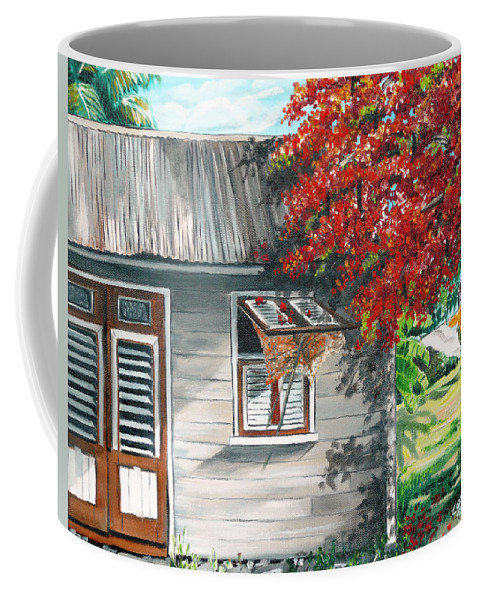 Caribbean Painting Typical Country House In The Caribbean Or West Indian Islands With Flamboyant Tree Tropical Painting Coffee Mug featuring the painting Little West Indian House 1 by Karin Dawn Kelshall- Best