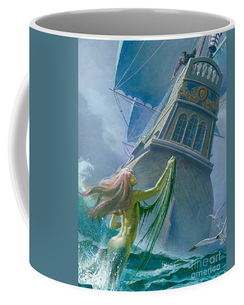 Mermaid Coffee Mug featuring the painting Mermaid Seen By One Of Henry Hudson's Crew by Severino Baraldi