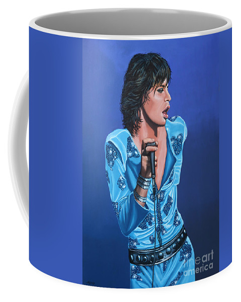 Mick Jagger Coffee Mug featuring the painting Mick Jagger by Paul Meijering