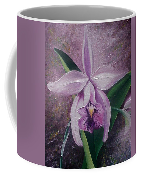 Orchid Purple Floral Botanical Coffee Mug featuring the painting Orchid Lalia by Karin Dawn Kelshall- Best