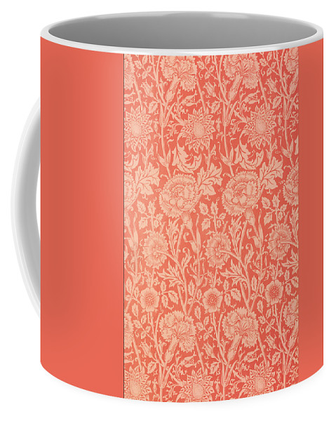 Pattern Coffee Mug featuring the tapestry - textile Pink And Rose Wallpaper Design by William Morris