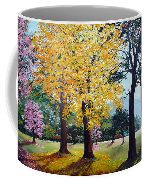 Tree Painting Landscape Painting Caribbean Painting Poui Tree Yellow Blossoms Trinidad Queens Park Savannah Port Of Spain Trinidad And Tobago Painting Savannah Tropical Painting Coffee Mug featuring the painting Poui Trees In The Savannah by Karin Dawn Kelshall- Best