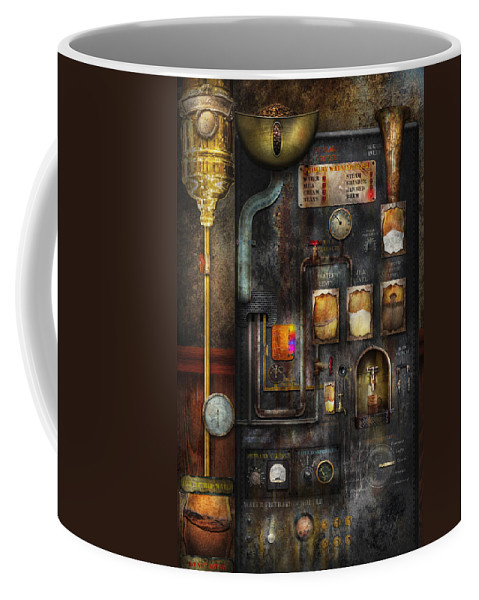 Steampunk Coffee Mug featuring the digital art Steampunk - All That For A Cup Of Coffee by Mike Savad