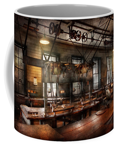 Hdr Coffee Mug featuring the photograph Steampunk - The Workshop by Mike Savad