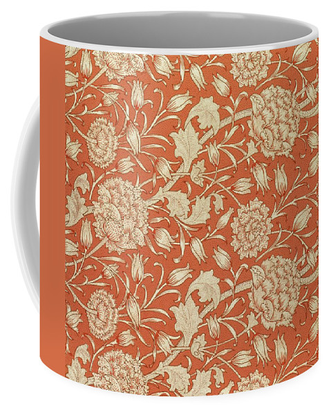 Tulips Coffee Mug featuring the tapestry - textile Tulip Wallpaper Design by William Morris