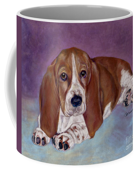 Bassett Pup Coffee Mug featuring the pastel Baby B. by Pat Saunders-White
