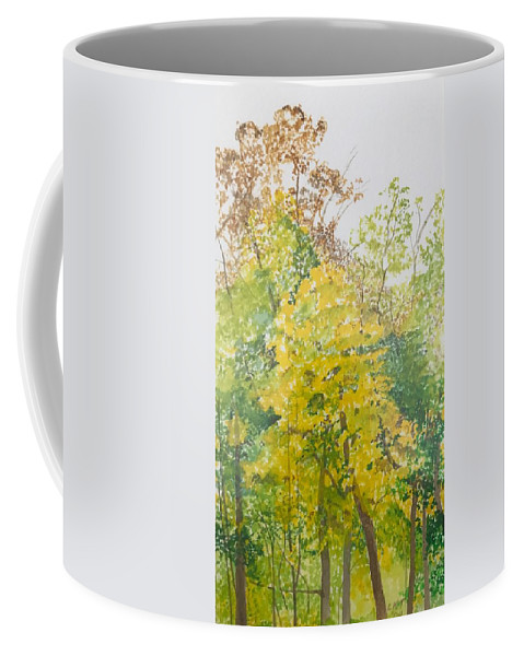 Autumn Coffee Mug featuring the painting Backyard by Leah Tomaino